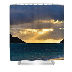 Lanikai Beach Sunrise Panorama 2 - Kailua Oahu Hawaii Shower Curtain by Brian Harig