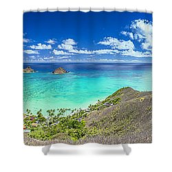 Lanikai Bellows And Waimanalo Beaches Panorama Shower Curtain