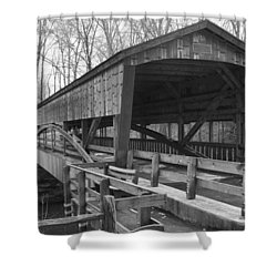 Lanterman Falls Covered Bridge Shower Curtain by Guy Whiteley
