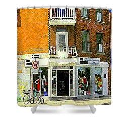 L'appartement Boutique Fashions Trendy Chic Clothing Store Ave Du Mont Royal City Scene  Shower Curtain by Carole Spandau