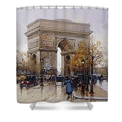 L'arc De Triomphe Paris Shower Curtain by Eugene Galien-Laloue