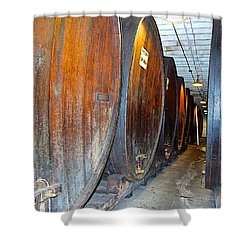 Large Barrels At Korbel Winery In Russian River Valley-ca Shower Curtain