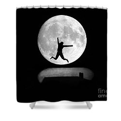 Large Leap For Mankind Shower Curtain by Patrick Witz