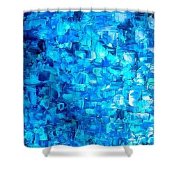 Large Wall Art Textured Painting Vertical Abstract Waterfall Shower Curtain