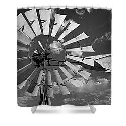 Large Windmill In Black And White Shower Curtain