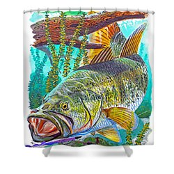 Largemouth Bass Shower Curtain by Carey Chen