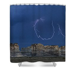 Lariat Lightning At Monument Rocks Shower Curtain by Rob Graham