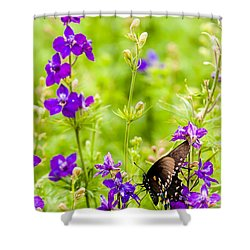 Larkspur Visitor Shower Curtain by Melinda Ledsome