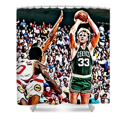 Larry Bird Shower Curtain by Florian Rodarte