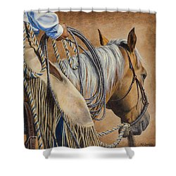 Lariat And Leather Shower Curtain