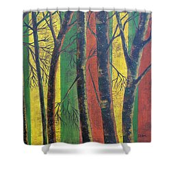 Shower Curtain featuring the painting Last Day Of October by Susan DeLain