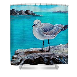 Shower Curtain featuring the painting Last Gull Standing by Susan DeLain