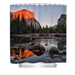 Last Light At Valley View Shower Curtain by Cat Connor