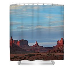 Shower Curtain featuring the photograph Last Light In Monument Valley by Alan Vance Ley