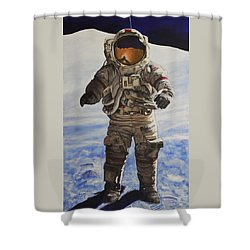 Last Man - Apollo 17 Shower Curtain by Simon Kregar