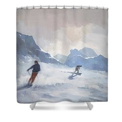 Last Run Les Arcs Shower Curtain by Steve Mitchell
