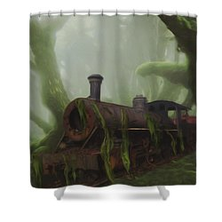 Last Stop Shower Curtain by Jack Zulli