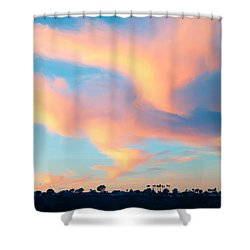 Fiery Sunset And Lenticular Cirrus Clouds - Newport Beach Backbay California Shower Curtain