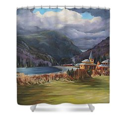 Last Train To Crawford Notch Depot Shower Curtain by Nancy Griswold