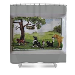 Last Tree Dogs Waiting In Line Shower Curtain by Jay Milo