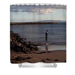 Late Afternoon Angler - Maalaea-maui Shower Curtain by Paulette B Wright