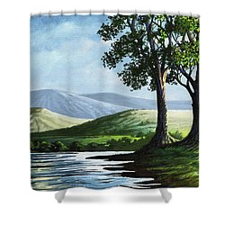 Shower Curtain featuring the painting Late Afternoon by Anthony Mwangi