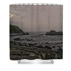 Shower Curtain featuring the photograph Late Afternoon Sun On West Quoddy Head Lighthouse by Marty Saccone