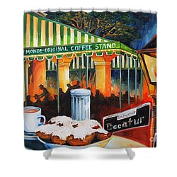 Late At Cafe Du Monde Shower Curtain by Diane Millsap