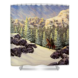 Late Crossing Shower Curtain