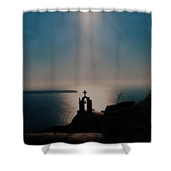 Late Evening Meditation On Santorini Island Greece Shower Curtain by Colette V Hera  Guggenheim