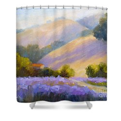 Late June Hills And Lavender Shower Curtain