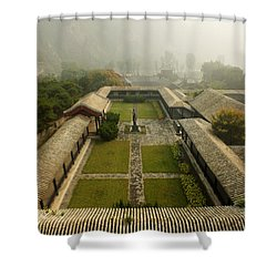 Shower Curtain featuring the photograph Late Morning Fog At The Great Wall  by Lucinda Walter