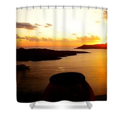 Late Sunset Santorini  Island Greece Shower Curtain