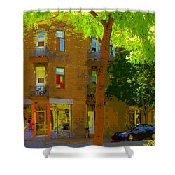 L'atelier Boutique Rue Clark And Fairmount Art Of Montreal Street Scene In Summer By Carole Spandau  Shower Curtain by Carole Spandau