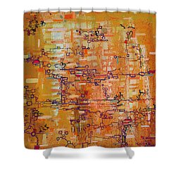 Lattice Animals Abstract Oil Painting By Regina Valluzzi Shower Curtain