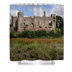 Laugharne Castle Shower Curtain by Jeremy Voisey