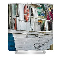 Laughs On A Shrimpboat Shower Curtain by Patricia Greer