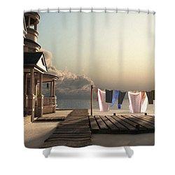 Laundry Day Shower Curtain by Cynthia Decker