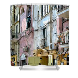 Laundry Day In Procida Shower Curtain by Jennie Breeze