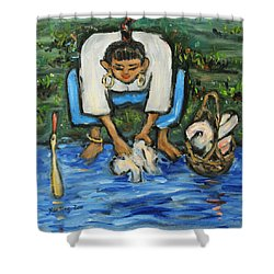 Shower Curtain featuring the painting Laundry Girl by Xueling Zou