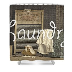 Laundry Room Sign Shower Curtain by Edward Fielding