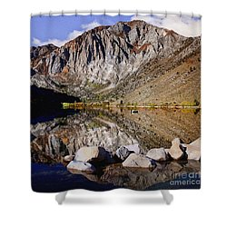 Laural Mountain Convict Lake California Shower Curtain by Bob and Nadine Johnston