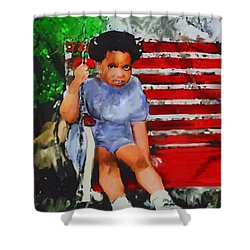 Shower Curtain featuring the painting Lauren On The Swing by Vannetta Ferguson