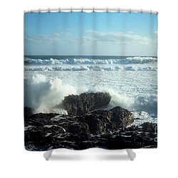 Shower Curtain featuring the photograph Lava Beach Rocks On 90 Mile Beach by Mark Dodd