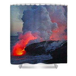 Lava Flow At Sunset In Kalapana Shower Curtain by Venetia Featherstone-Witty