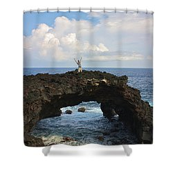 Lava Sea Arch In Hawaii Shower Curtain by Venetia Featherstone-Witty