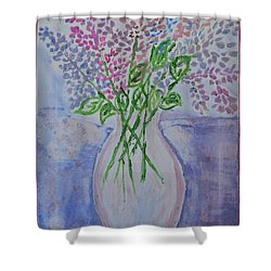 Lavendar  Flowers Shower Curtain by Sonali Gangane