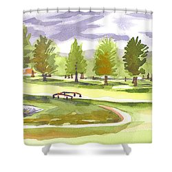 Lavender And Green Shower Curtain by Kip DeVore
