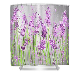 Lavender Blossoms - Lavender Field Painting Shower Curtain