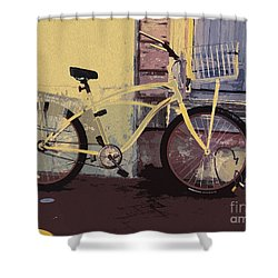 Lavender Door And Yellow Bike Shower Curtain by Ecinja Art Works